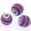 Indonesia Jewelry Beads, Drum shape,handmade beads with colorful ball chain,platinum/purple