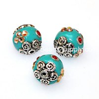 Indonesia Jewelry Beads, round shape,aquamarine,handmade beads,sold of 10 pcs