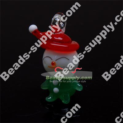 Lampwork Pendant , Snowman, Green . Approx Size : 20*30mm - Click Image to Close