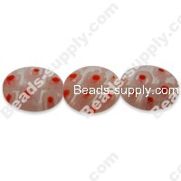 Millefiori Glass Multi-Flower Flat Olive Beads 10x12 mm
