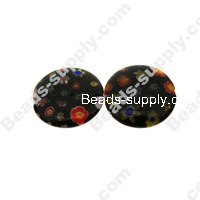 Millefiori Glass Multi-Flower Flat Round Beads 14 mm