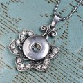 Necklace,crystal flower pendant noosa necklade fits noosa chunk charm