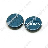 Wood Grain Plastic Beads 15mm,Blue