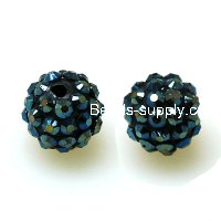 Bead,Round Resin Pave Beads,Black Base,Montana AB,Sold 100 Pcs Per Package