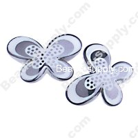 Bead, dots UV engraved , gun black color, 29x21x6mm butterfly beads. Sold per pkg of 100 PCS