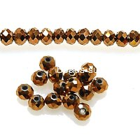 Bead,glass,crystal,Bronze, 3x4mm faceted rondelle. Sold per 10 strands.