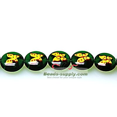 Bead, lampworked glass, yellow and green, 12mm double-sided flat round with butterfly design - Click Image to Close