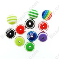 Bead, resin, Assorted Color, 12mm round.