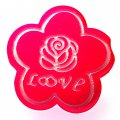 Beads,10x24mm satin flower beads,fuchsia rubberized beads,sold of 100 pcs per pkg