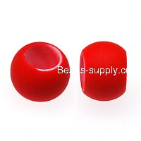 Beads,8x10mm rubberized plastic beads,large hole satin beads for DIY charm bracelet,red