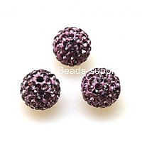 Beads,Pave Polyclay Round Beads 8mm , Lt Amethyst
