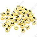 Beads,solid acrylic Alphabet Beads ,4x7mm,yellow ,assorted letters