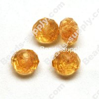 Briolette Gold Sand Glass Beads 8mm*10mm ,Yellow