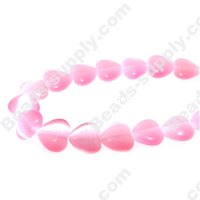 Cats Eye Heart Beads 10mm