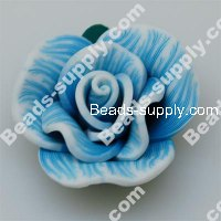 Fimo Rose Beads 30mm,Aquamarine