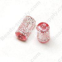 Gilding Silver Line Tube Beads 9mm*15mm ,Pink