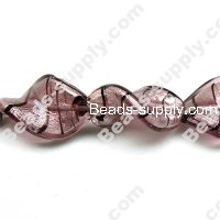 Glass Silver Foiled Twist Beads 20x30mm
