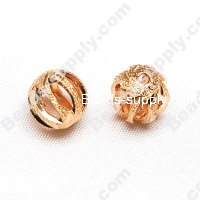 Gold Plating Metal Round Beads 10mm