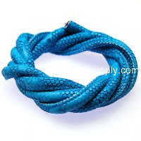 Jewelry supplies,I.M leather Cord,6mm aquamarine PU leather Cords,5m Cayman Skin PU leather cord