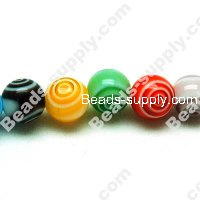 Millefiori Glass Round Beads 8mm,Mixed Color