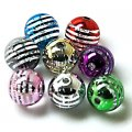 Acrylic UV Plated Beads ,Striated surface,Round Beads 16mm,Mixed Color