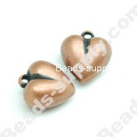 Antique Copper Plated Acrylic Heart Beads 11x18x18mm