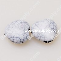 Bead, crackle acrylic, white color, 8.5x16mm heart. Sold per pkg of 410 PCS