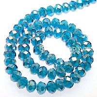 Bead,glass,AB plated crystal,blue zircon, 6x8mm faceted rondelle. Sold per 10 strands.