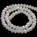 Bead,glass,AB plated crystal,white jade, 6x8mm faceted rondelle. Sold per 10 strands.
