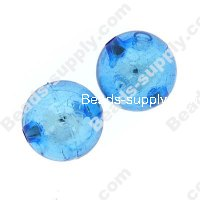 Bead, resin with silver-color foil, Blue, 18mm round