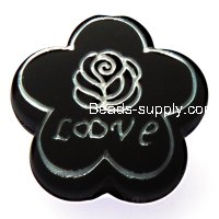 Beads,10x24mm satin flower beads,black rubberized beads,sold of 100 pcs per pkg