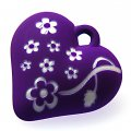 Beads,13x34x35mm satin rose heart beads,purple rubberized beads,sold of 100 pcs per pkg