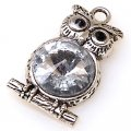 "Charm,antiqued""pewter"" (zinc-based alloy), 30x19mm owl. Sold per pkg of 50"