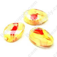 Colorful Twist Glass Beads , 13mm*20mm ,Gold