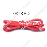 Cord, Bugtail, satin, red, 2mm.