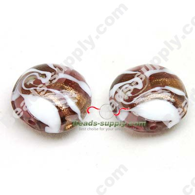 Foiled glass Coin Beads 20mm - Click Image to Close