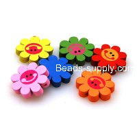 Funcy Painted Wooden Beads , Sunflower Beads 5*23mm