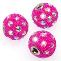 Indonesia Jewelry Beads, Drum shape,handmade with glass seed beads and rhinestone,fuchsia color