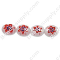 Millefiori Glass Single-Flower Flat Olive Beads 8x10 mm