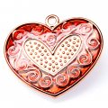 Pendants,2x32x35mm heart pendant,golden plating,red enamel pendant,Sold of 10 pieces per pkg