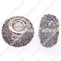10x16mm Large hole beads for DIY snake charm bracelets,resin pave roudelle beads,Grey