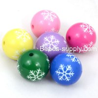 20mm engraved snowflake Carved acrylic round beads,fuchsia
