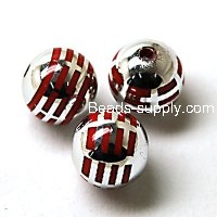 Acrylic UV Plated Beads ,Striated surface,Round Beads 16mm,Red