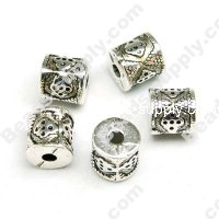 Antique Silver Plated Acrylic Beads 9x9mm
