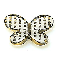Bead,UV Plated Beads with dot surface,Butterfly Beads 44*33*6.5mm,Yellow