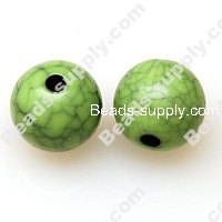 Bead, crackle acrylic, green color, 12mm round. Sold per pkg of 520 PCS