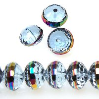 Bead, glass rondelle, centre part plated,voilet with rainbow, 9x12mm rondelle beads. Sold per pkg of 160 PCS