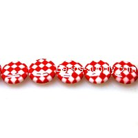 Bead, lampworked glass, red/white, 14mm double-sided flat round