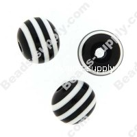 Bead, resin, Black/White, 14mm round.