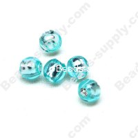 Bead,resin with silver-color foil, Aquamarine, 6mm Round